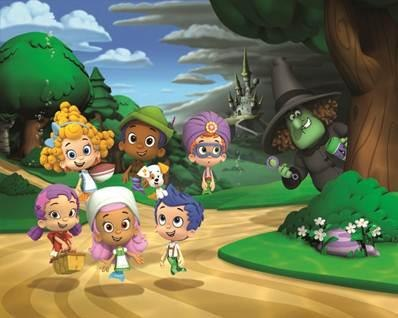 """The Bubble Guppies and The Witch (voiced by Wanda Sykes) in """"Bubble Puppy's Fin-Tastic Fairytale Adventure"""" (Photo Credit: Nickelodeon)"""