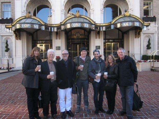 (From left to right) Carol Frank, Ron Diamond, William Joyce, Brandon Oldenburg, Patrick Doyon, Bonnie Thompson and Marc Bertrand in front of San Francisco's Marc Hopkins hotel.