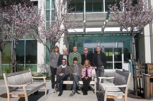 (From left to right, top row) Carol Frank, Ron Diamond, Lampton Enochs, William Joyce and Marc Bertrand. (From left to right, bottom row) Patrick Doyon, Brandon Oldenburg and Bonnie Thompson, outside PDI/DreamWorks.