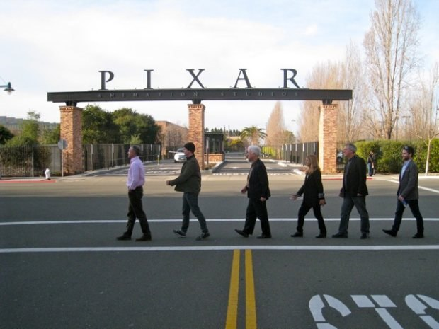All assembled at the main Pixar gate.