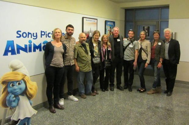 All assembled for the SPA/SPI leg of the tour: (From left to right) Sue Goffe (producer, A Morning Stroll), Grant Orchard (director, A Morning Stroll) Michael Fukushima (producer, Dimanche/Sunday), Marcy Page (producer, Wild Life), Bonnie Thompson (producer, Wild Life), Marc Bertrand (producer, Dimanche/Sunday), Patrick Doyon (director, Dimanche/Sunday), Wendy Tilby (director, Wild Life), Amanda Forbis (director, Wild Life) and Ron Diamond (president, AWN.com and executive producer, Acme Filmworks).