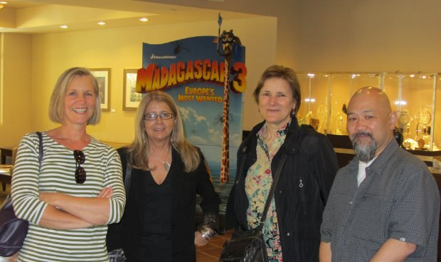 Producers Sue Goffe, Bonnie Thompson, Marci Page and Michael Fukushima wait for the tour to begin.