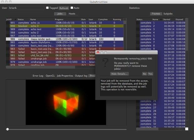Qube!'s new artist view GUI.