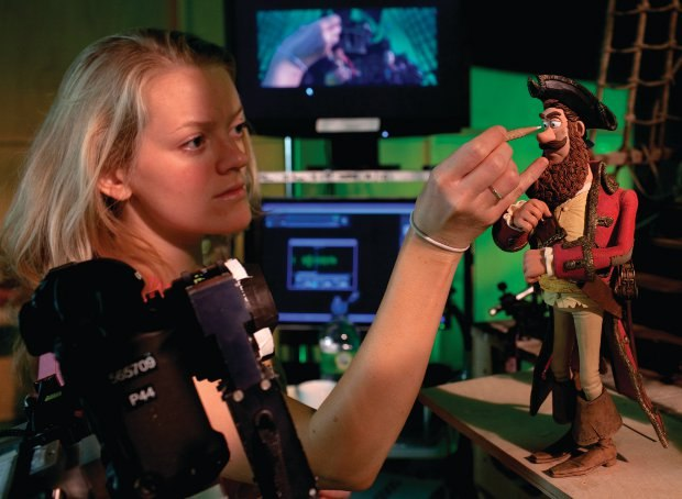 Wendy Griffiths, Animator, animating the Pirate Captain. © Aardman Features, Images by Luke Smith