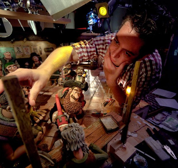 """""""The Pirates!"""" Lead Animator Andy Symenowski in Action (photo courtesy of Aardman Studio)"""