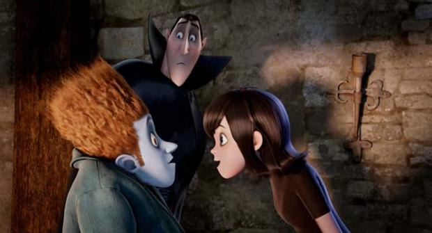 Overprotective dad Dracula (Adam Sandler) looks over Frankenstein's supposed cousin Johnnystein (Andy Samberg) and Drac's inquisitive daughter Mavis (Selena Gomez)