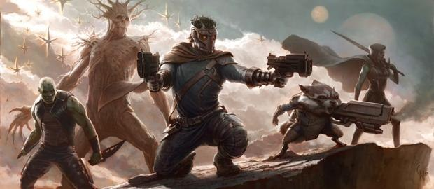 Drax the Destroyer, Groot, Star Lord, Rocket Raccoon and Phyla Vell aka Quasar in GUARDIANS OF THE GALAXY conceptual art by Charlie Wen| ©2012 Marvel Studios