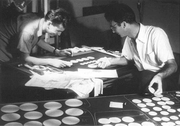 During the production of Spheres, René Jodoin and Norman McLaren. All photos © National Film Board of Canada. All rights reserved.