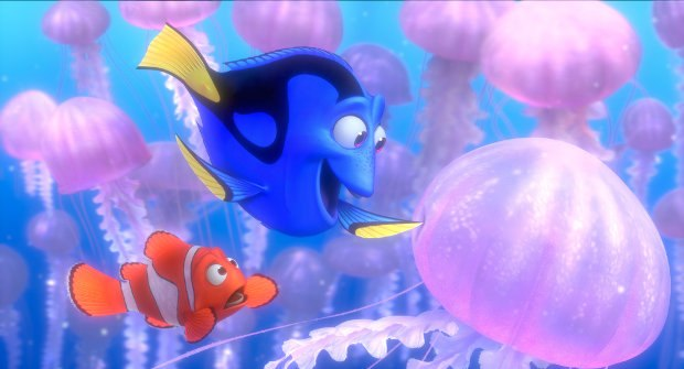 (L-R) Marlin and Dory amongst jellyfish. All images ©2012 Disney/Pixar. All Rights Reserved.
