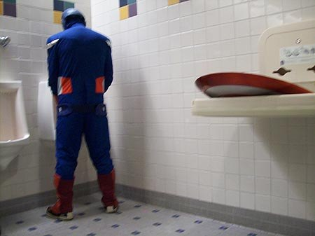 Even superheroes have to pee