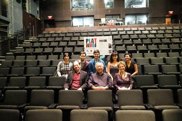 First row (L-R) Jerry Beck, Katsuhiro Otomo and Irene Kotlarz. Back row, the CalArts student curators.