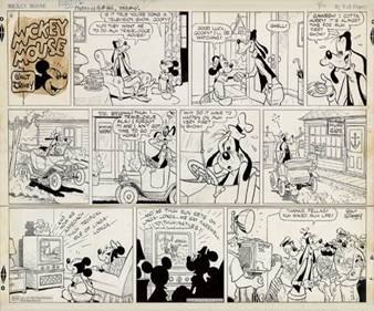 Three-tiered Mickey Mouse Sunday comic strip from 1950 (estimated value $3,500 – $5,000). Image courtesy of Swann Auction Galleries.