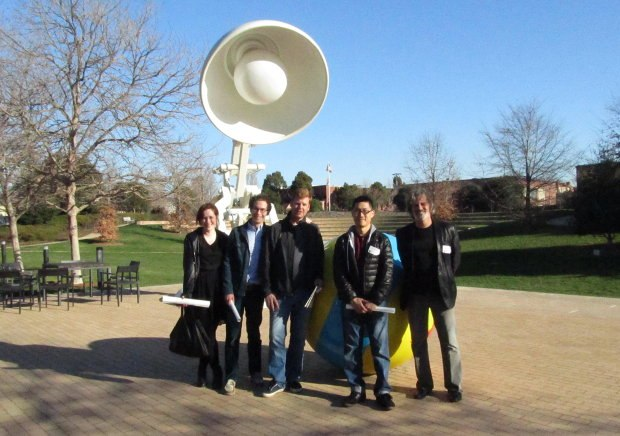 Outside Pixar. (From left to right) Fondhla Cronin O'Reilly, Timothy Reckart, John Kahrs, Minkyu Lee and David Silverman.