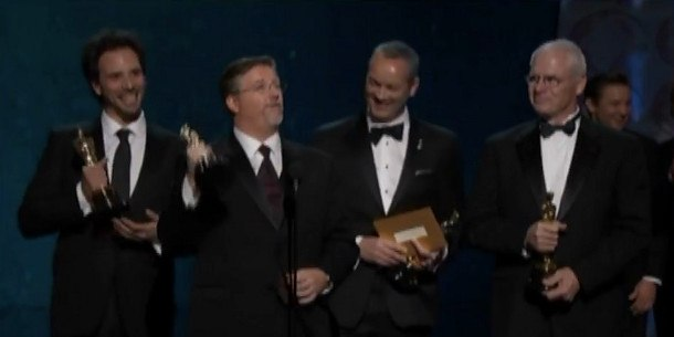 The Jaws theme drowns out Bill Westenhofer (second from left) as he attempts to mention Rhythm & Hues' recent financial issues during his acceptance speech for the Oscar for Best Visual Effects. Watch the full clip here.