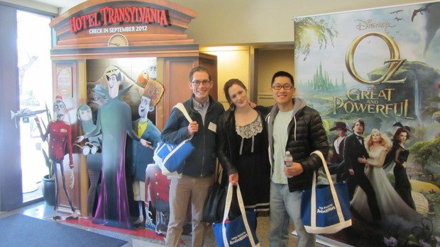 (From left to right) Tim Reckart, Fondhla Cronin O'Reilly and Minkyu Lee in the lobby of Sony Pictures Animation / Sony Pictures Imageworks. All images courtesy of Dan Sarto.