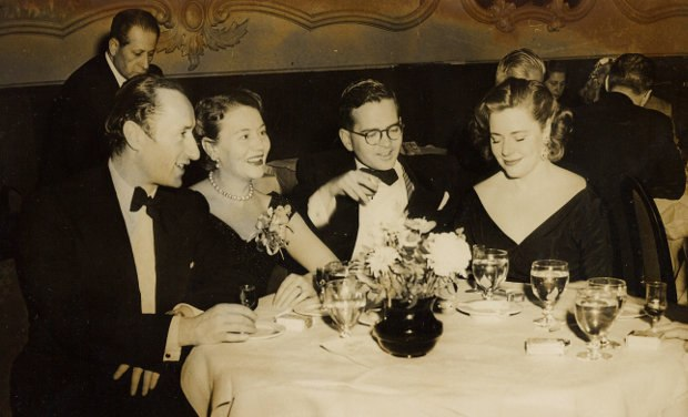 The CIA used Howard Hunt and his Hollywood contacts to obtain film rights to Animal Farm from Sonia Orwell. Here, Mrs. Orwell is seen dining with (left to right) Halas, Batchelor and Bordon Mace, president of the company which produced Animal Farm. © The Halas & Batchelor Collection Limited. Courtesy of the Animation Research Centre Archive.