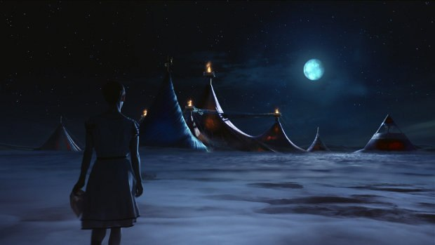 An image from one of the CG scenes showing the lead character Mia walking between circus tents. Image © 2012 Paramount Pictures. All rights reserved.