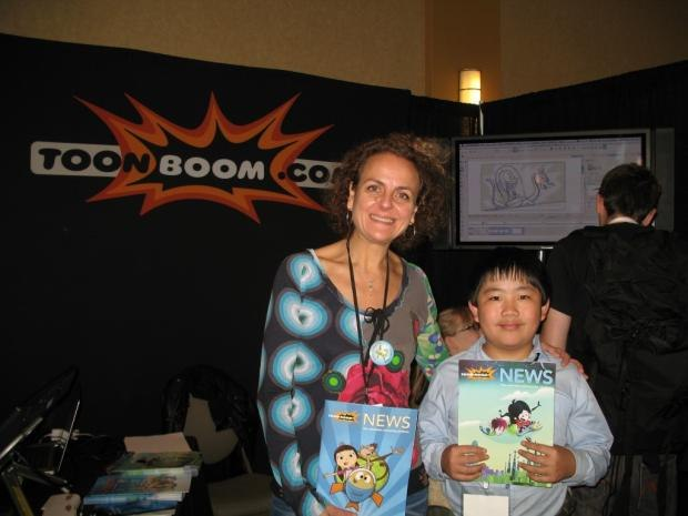 Perry Chen with Karina Bessoudo, Toon Boom Animation's Vice President of Marketing at CTN (photo by Zhu Shen)