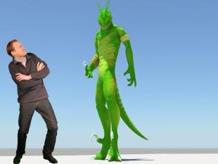 Alex Williams pictured with a visual effects character