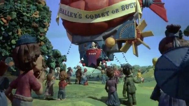 Mark Twain's airship prepares for takeoff.