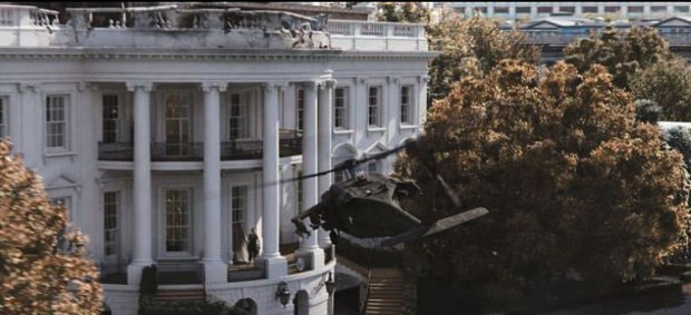 Method used still and aerial photographs to stitch together the White House shots. All images © 2013 Columbia Pictures Industries, Inc.