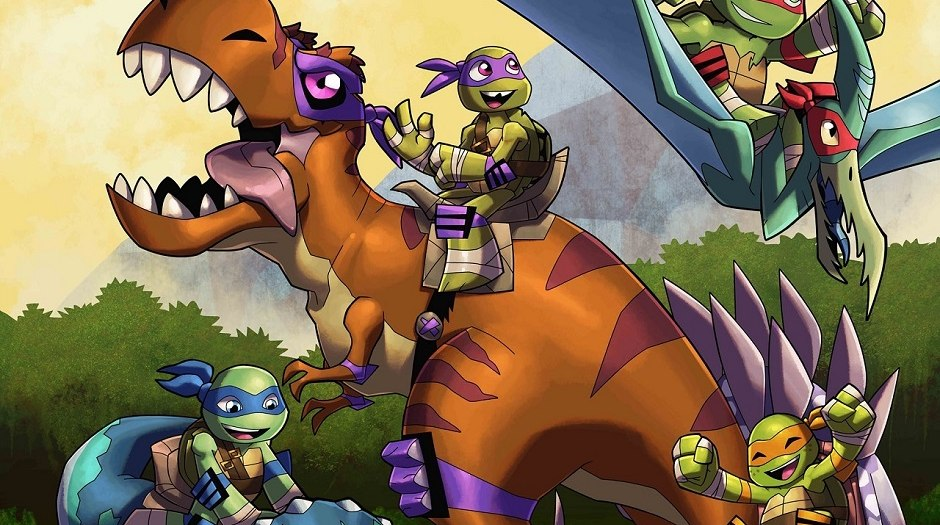 teenage mutant ninja turtles time travel to jurassic era in 2d