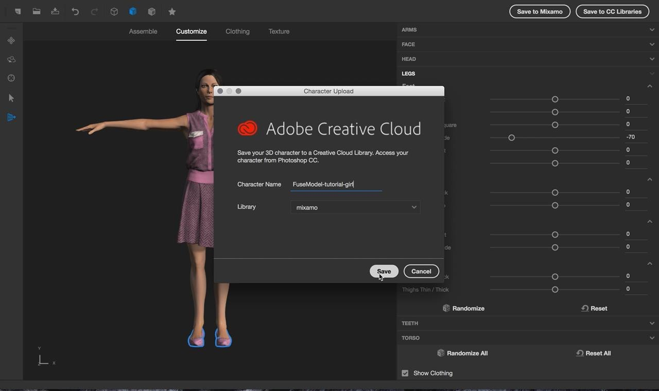 Tutorial create 3d animated gifs with adobe fuse cc and photoshop next i saved my character to my creative cloud library this step makes it possible for me to open up photoshop cc and see my character in my library for baditri Images