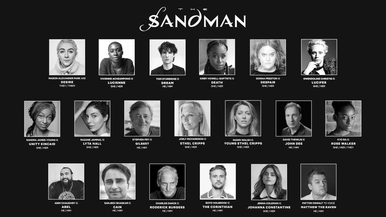 Parte do elenco da série de sandman na netflix
